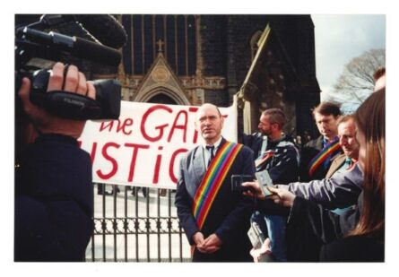 Michael Bernard Kelly talks to the media outside St. Pauls Cathedral, Melbourne, Vic. (photo: unidentified photographer)