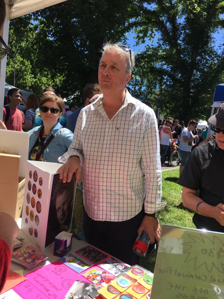 Minister Foley at the ALGA stall Midsumma Carnival 2018