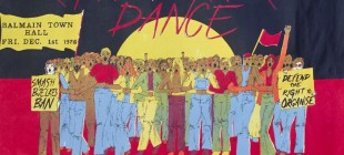 Poster for Right to March Dance poster 1978: group of people arm in arm, Aboriginal flag background