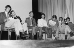 Speakers on stage at public meeting on AIDS, Melbourne 1983
