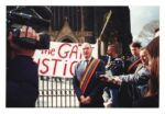 Michael Kelly talks to the media outside St. Pauls Cathedral, Melbourne, Vic. (photo: unidentified photographer)