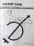 Cartoon of man cutting arrow off gender symbol on cover of first issue of Camp Ink